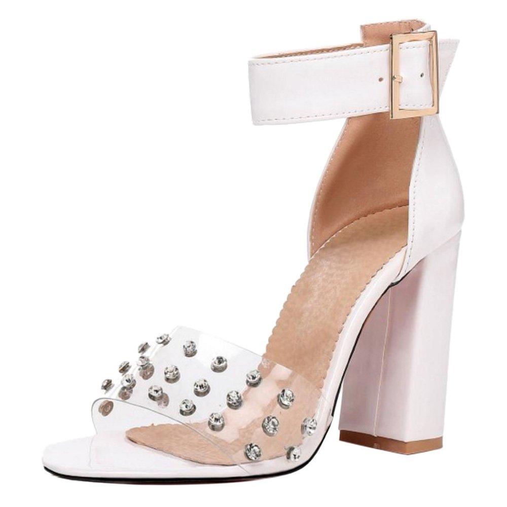 TAOFFEN Damen High Heels Sandalen Party Schuhe  44 EU|White