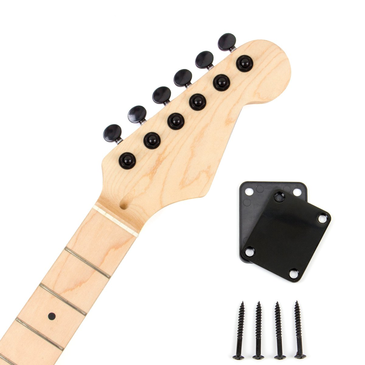 Electric Guitar Neck With Black 6R Inline Locking Tuning Pegs Neck Plate Maple Wood Neck Machine Heads Parts Replacement (MI2245) Ltd