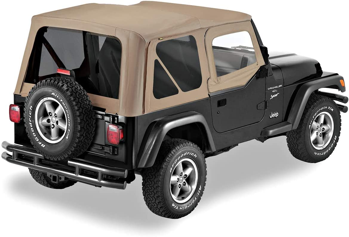 Pavement Ends by Bestop 51197-15 Black Denim Replay Replacement Soft Top Tinted Back Windows w//Upper Door Skins for 1997-2006 Jeep Wrangler