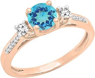 DazzlingRock Collection Femme Or Blanc 10K Ronde Saphir Bleu et Blanc Diamant Twisted Shank de Split Promise Anneau (7) 7.5 DR7456-3225-10KR-7.5