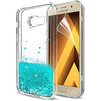 LeYi Compatible con Funda Samsung Galaxy A3 2017 Silicona Purpurina Carcasa con HD Protectores de Pantalla,Transparente Cristal Bumper Telefono Gel ...