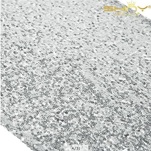 12x72 Inch Silver Sequin Table Runner product image