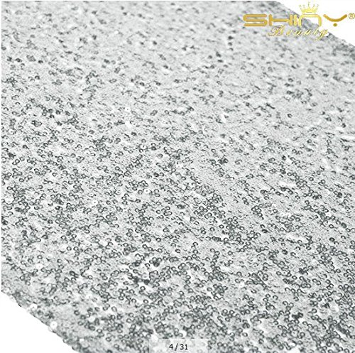 Shiny Silver Sequin Table Runner 14