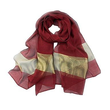 Aiklin Femmes Echarpe Foulard Long Soie Châle foulard (Bordeaux ... dde66b44fa5
