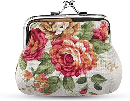 Old Retro Audio Tapes Women Girl Canvas Floral Coin Purse Clutch Pouch Wallet