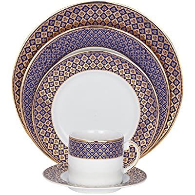 Click for SHINEPUKUR Golden Jublee Fine China Place Settings, 5 Piece, Blue