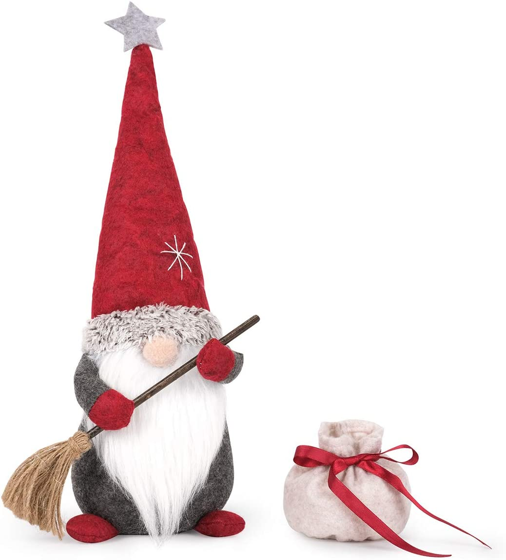 D-Fantix Sweeping Christmas Gnome Decorations, 17.7inches Large Handmade Tomte Swedish Gnomes with Broom and Bag, Scandinavian Nisse Santa Figurines Plush Elf for Holiday Home Decor Thanksgiving Gifts