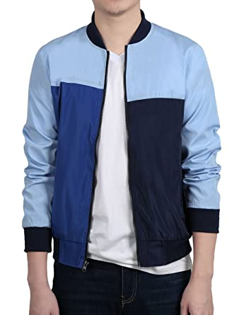 c0a9ff2f1e4 Sourcingmap Allegra K Men Color Block Zip Front Slant Pocket Long Sleeves  Windbreaker Jacket  Amazon.co.uk  Clothing
