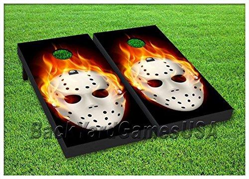 CORNHOLE BOARD Set BEANBAG TOSS GAME w Bags Flaming Fire Hockey Mask 98