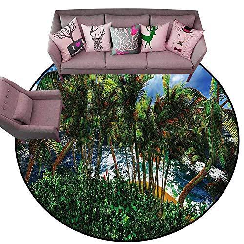 (Entrance Modern Area Rugs Hawaiian,Hawaii Island Palm Tree Diameter 72
