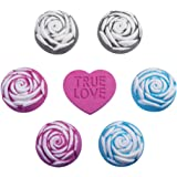 Anjou Rose Bath Bombs Gift Set, with Red Rose, Blue Rose, and Black Rose, Perfect for Bubble & lush Spa Bath, 6 x Rose Shaped Bombs, 1 x Heart Shaped Bomb
