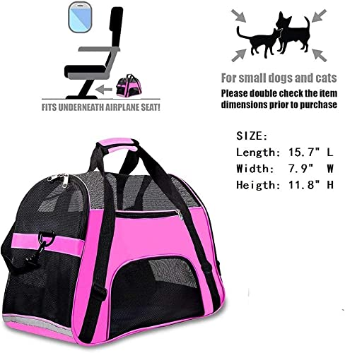 TIYOLAT Pet Carrier Bag, Airline Approved Duffle Bags, Pet Travel Portable Bag Home for Little Dogs, Cats and Puppies, Small Animals 40 x 20x 30cm