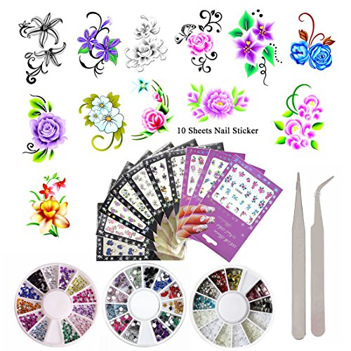 (10 Pack Flower Nail Art Stickers Decals Water Slide Sticker Decal 3 Boxes Acrylic Nail Rhinestones Decorations Fingernail Accessories (10 Pack Style 1))
