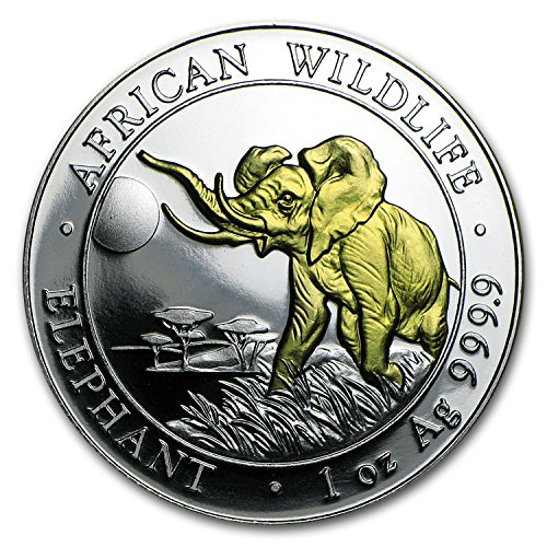 2016 Somalia 1 oz Silver Elephant (Gilded) 1 OZ Brilliant Uncirculated