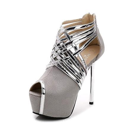 Eeayyygch Plataformas Impermeables para Mujer de Tacones Altos Abierto Sandalias  de Punta Zapatos de Fiesta Sexy 234fd0727e2c