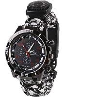 forfar–6en 1impermeable reloj de pulsera de supervivencia reloj de pulsera correa de muñeca de supervivencia con silbato al aire última intervensión CO