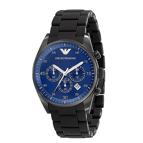 De los hombres EMPORIO ARMANI AR5921 negro de silicona reloj de cuarzo de acero inoxidable
