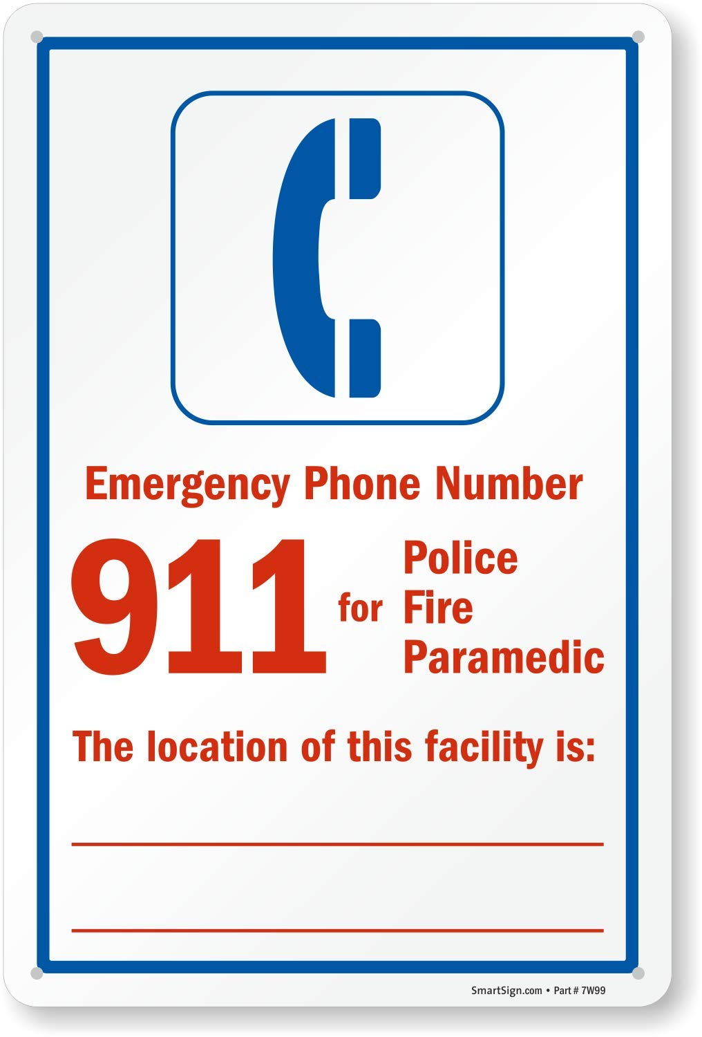 SmartSign ''Emergency Phone Number 911 for Police, Fire'' Sign | 10'' x 15'' Plastic by SmartSign