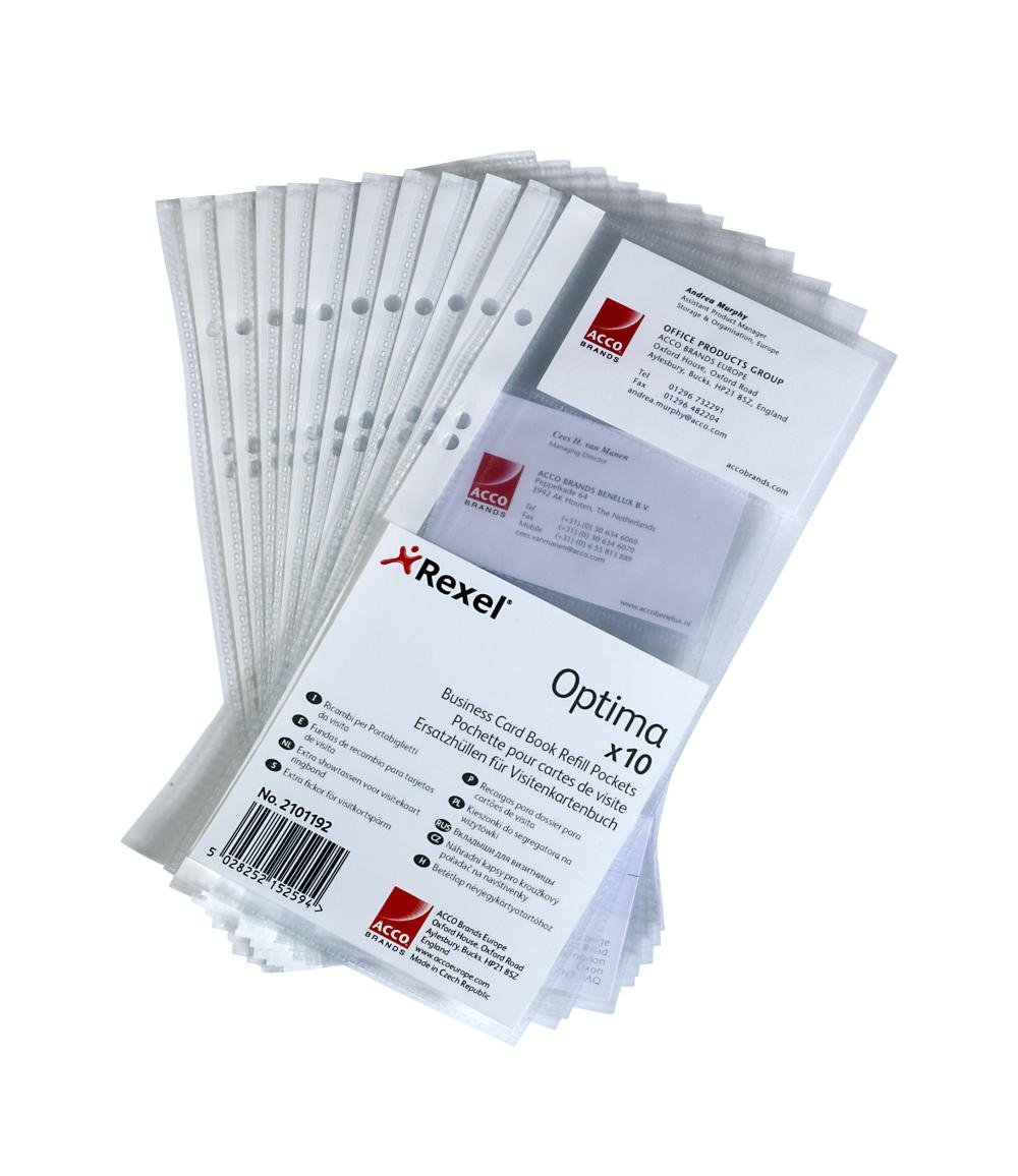 Optima Business Card Book Refill Pockets With 8 Card Storage Slots