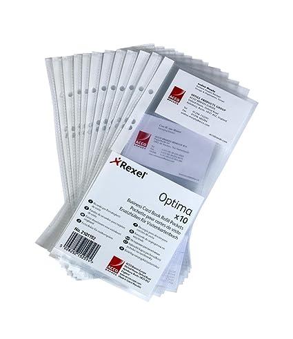 Rexel 2101192 - Fundas de plástico para archivador de tarjetas de visita (A5, estrechas