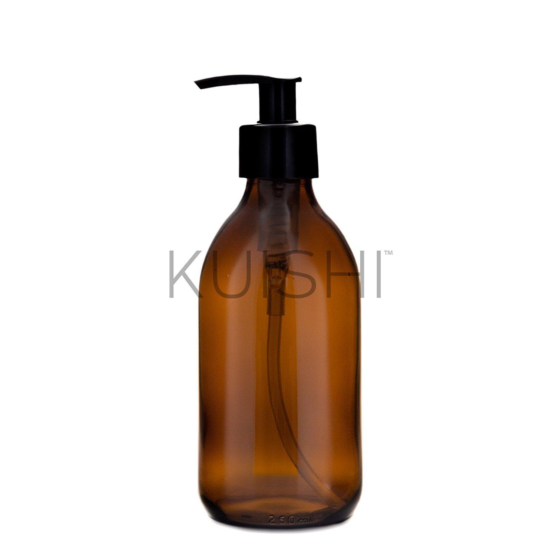 Kuishi - Dispenser per sapone - vetro ambrato, Vetro, Amber, x2 250ml