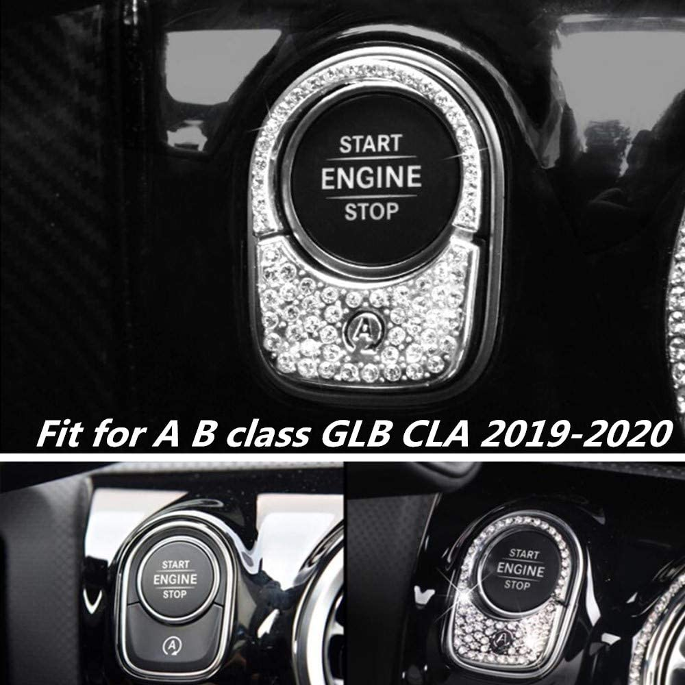 NIUHURU Car Interior Trim Bling Bling Accessories Rhinestone Decals Ignition Start Button Decorative Cover Sticker fit for Mercedes Benz A B class GLB CLA Class 2019 2020