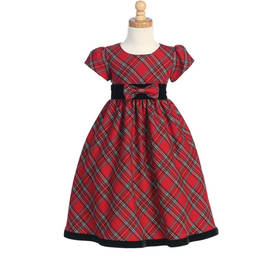 Toddler Girls Red Black Plaid Short Sleeve Christmas Dress 3T Lito