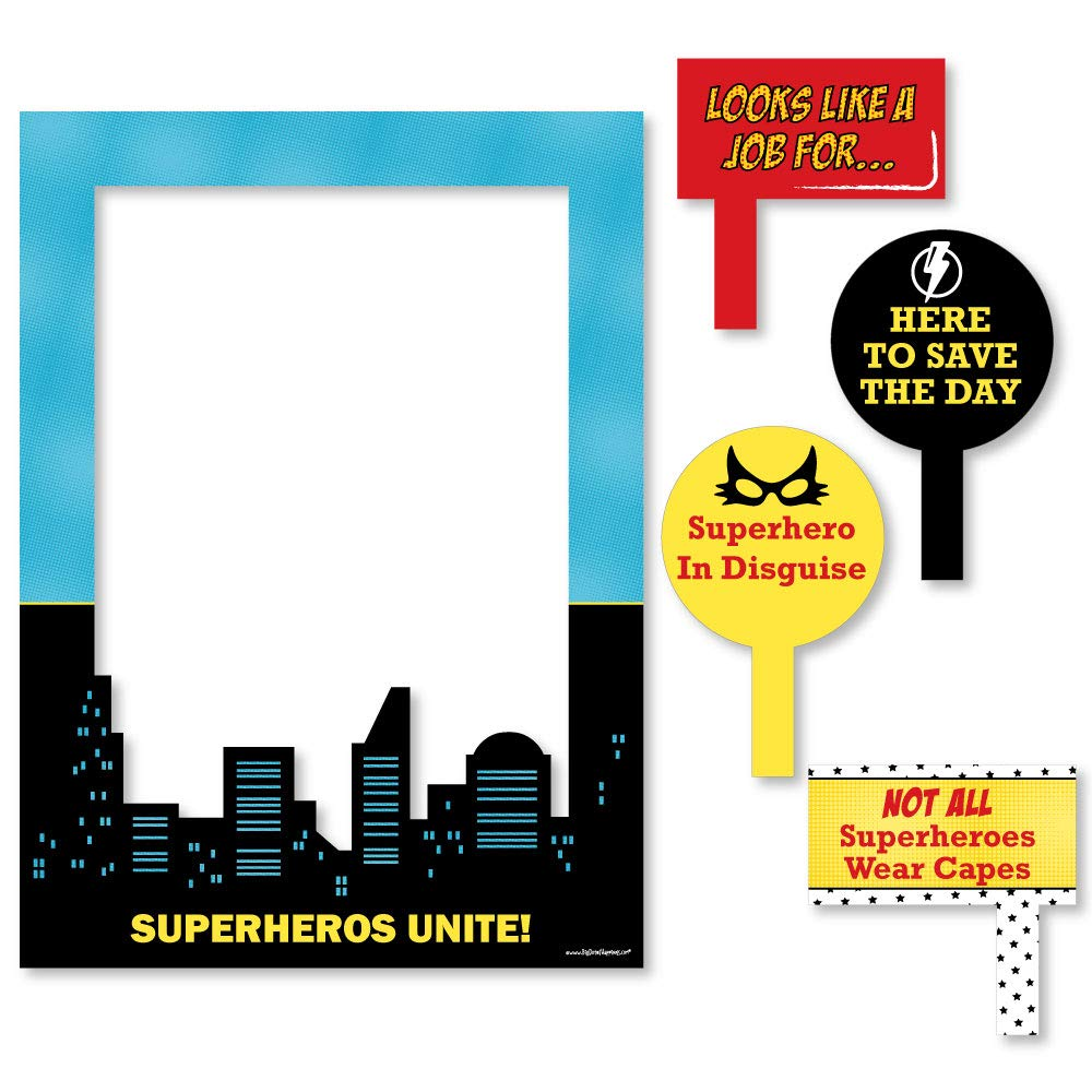 Big Dot of Happiness Bam Superhero - Birthday Party or Baby Shower Selfie Photo Booth Picture Frame and Props - Printed on Sturdy Material