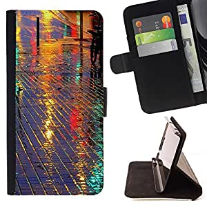 Momo Phone Case / Flip Funda de Cuero Case Cover - Calle reflectante Night City Azulejos - Samsung Galaxy J1 J100