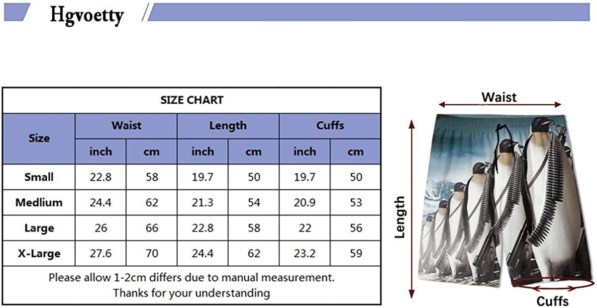 Kidhome Teenagers Boys Beach Board Shorts Penguins Fight Summer Drawstring Beach Shorts Swim Trunks with Pockets for Teen Boys