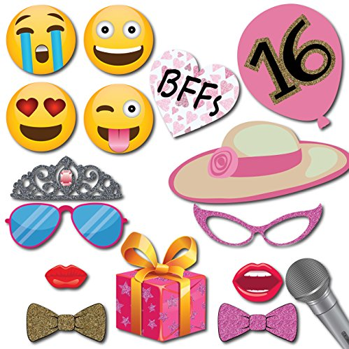 Sweet 16 Birthday Photo Booth Props Party Kit 41 Pieces With