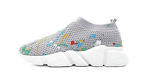 Balenciaga Speed Stretch-Knit Mid Trainer Splash Ink Grey Blanc Zapatillas de Gimnasia para Hombre Mujer: Amazon.es: Zapatos y complementos