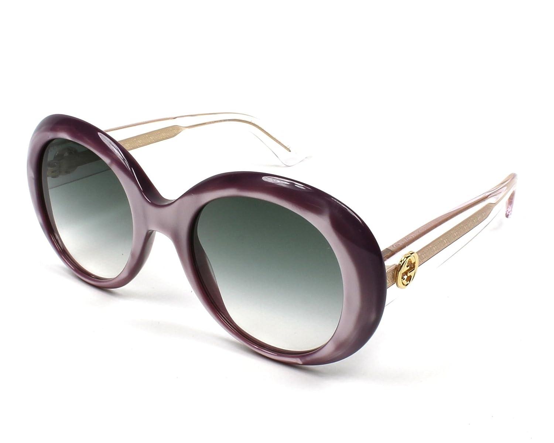 13b129d6bb1 Amazon.com  Gucci GG0139S 003 (Pink fuschia fuchsia - Crystal with Grey  Gradient lenses)  Clothing