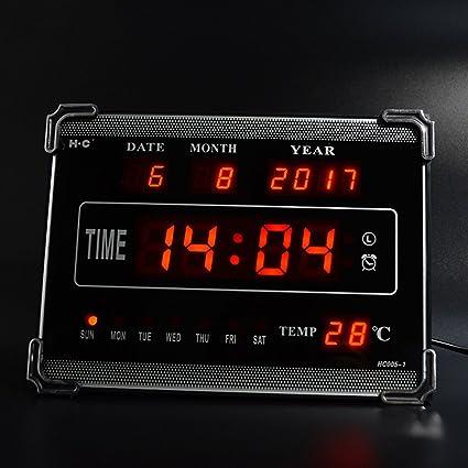Reloj de pared llevado creativo del calendario electrónico inglés 10 pulgadas alarma de música del reloj