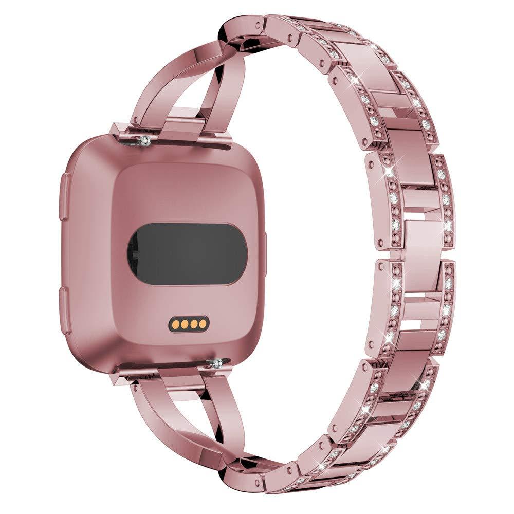 Luxus Legierung Kristall Edelstahl Armband Hunpta@ Uhrenarmband f/ür Fitbit Versa