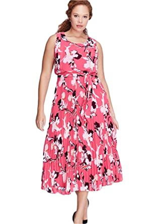 7e228a9a5a5 Lane Bryant Dress Printed Pleated Skirt Dress Tie Belt (16) at ...
