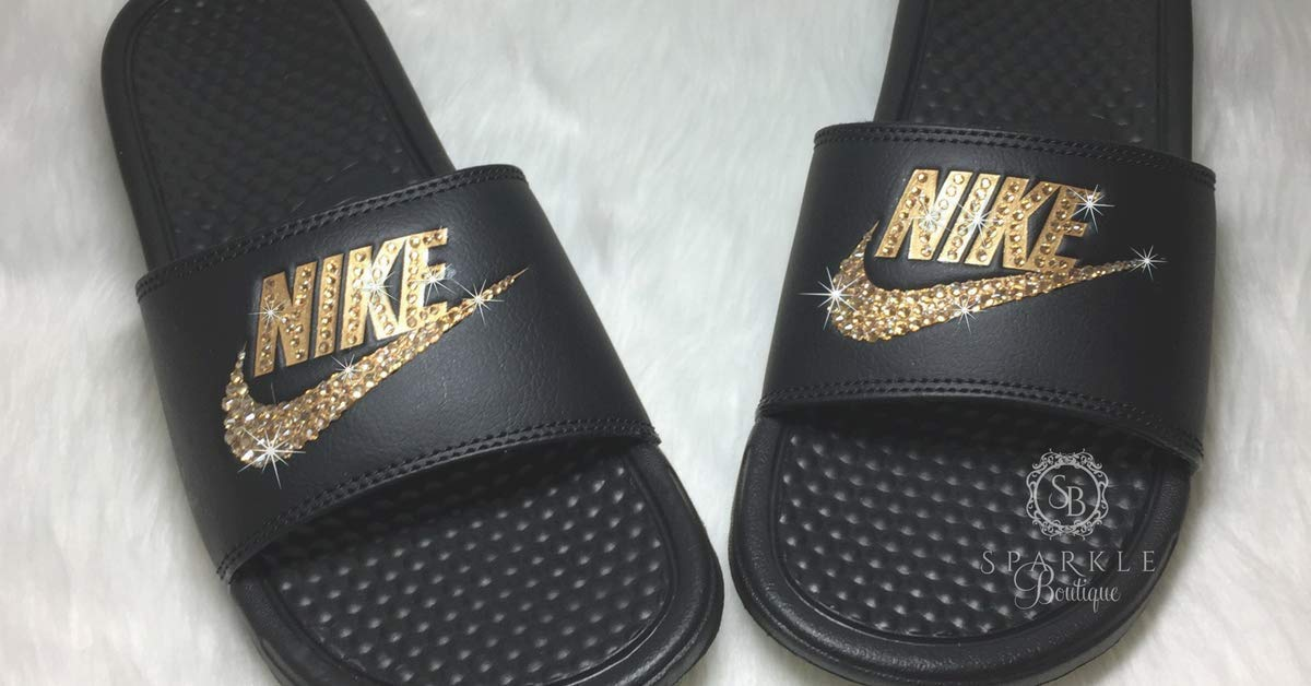 best service dfb45 5ecfa Amazon.com Nike Blinged Out Slides for Women - Bling Swarovski Bedazzled  Kicks - NIKE Benassi JDI Slides with Gold Crystals Handmade