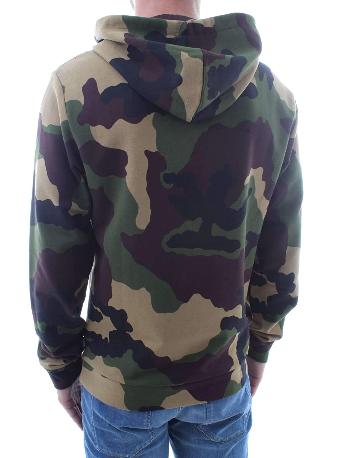 72af75a826ef4 Moschino Underwear Camo Tape Logo Hooded Sweat Top in Khaki: Amazon.co.uk:  Clothing