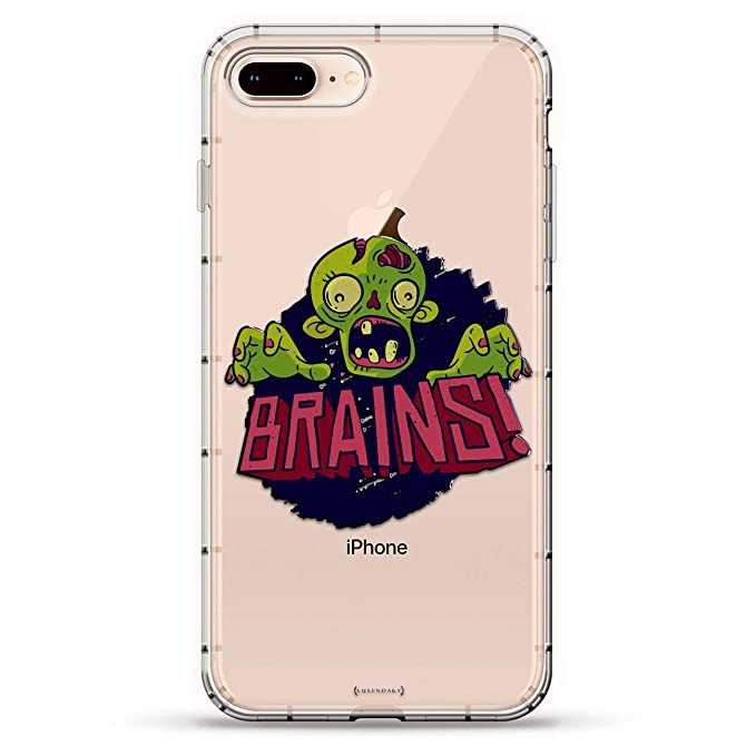 FANTASY: Hungry Zombie Brains | Luxendary Air Series Clear Silicone Case with 3D Printed Design and Air-Pocket Cushion Bumper for iPhone 8/7 Plus