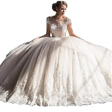 WANNISHA Elegant Scoop Neck Short Sleeves A Line Appliques Wedding ...