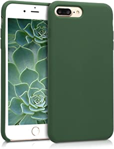 kwmobile TPU Silicone Case Compatible with Apple iPhone 7 Plus / 8 Plus - Soft Flexible Rubber Protective Cover - Dark Green