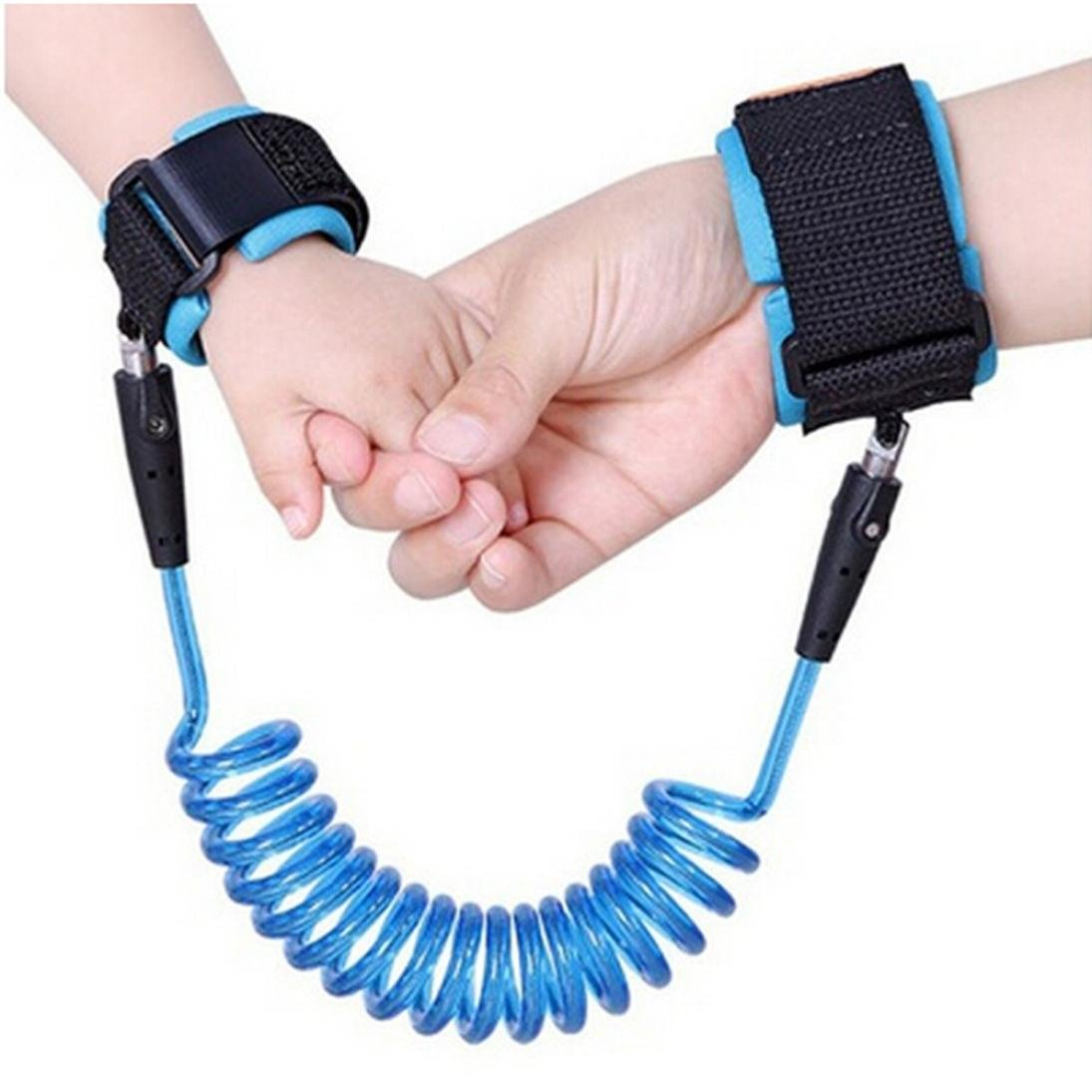 Anti-lost Wrist Link, MML Child Anti Lost Wrist Link Safety Leash Baby Toddler Wrist Straps Kids Hand Belt Flexible Children Walking Strap 1.5 Meters Stretched (Blue) MML-007
