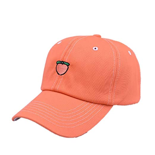 b25435f00546c3 Image Unavailable. Image not available for. Color: Harajuku Peach Fruit Embroidery  Baseball Cap Cute Adjustable Outdoor Caps Summer Sun Protection Dad Hats