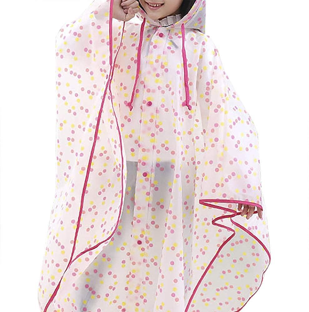 Popoye Kids' Lightweight Outdoor Hooded Raincoat Long Rainwear Wave Point