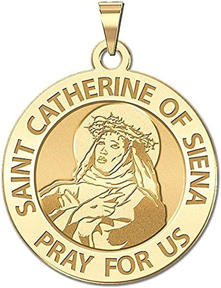 Solid 14K Yellow Gold 3//4 Inch Size of a Nickel PicturesOnGold.com Saint Catherine of Siena Religious Medal