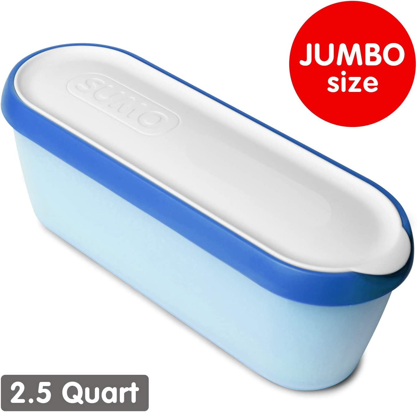SUMO Jumbo Homemade Ice Cream Containers: Dishwasher Safe Tub. 2.5 Quart (Blue)