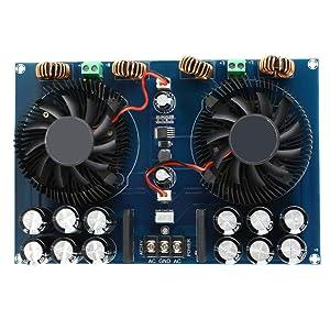 High Power Amplifier Board 2420W Dual Channel TDA8954TH Digital Audio Power Amplifier Board Subwoofer Stereo Audio Amp Board with Cooling Fan