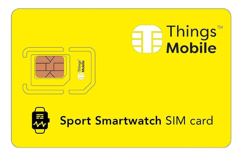 Carte SIM pour SMARTWATCH / MONTRE INTELLIGENTE DE SPORT - Things Mobile - avec couverture mondiale et réseau multi-opérateur GSM/2G/3G/4G, sans coûts fixes. 16€ de crédit inclus