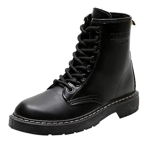 6088bfd7da893 Bottes éQuitation Hiver Femme, Bottines Vernis Noir Ankle Boots Talon Large  Bottes à Lacets Escarpins