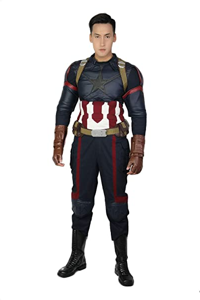 Steven Rogers Cosplay Costume Civil War Battle Outfit Belt Groves Ful Suit